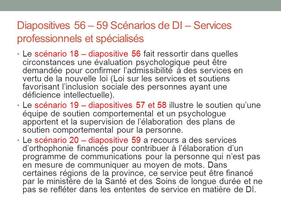 Diapositives 56 – 59 Scénarios de DI – Services professionnels et spécialisés