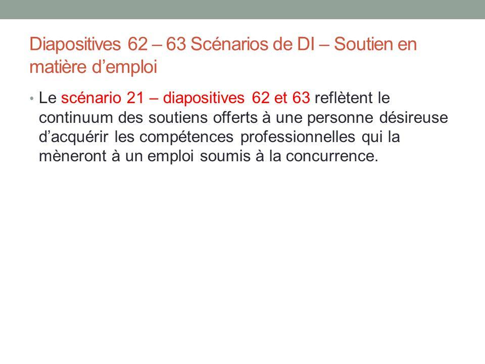Diapositives 62 – 63 Scénarios de DI – Soutien en matière d'emploi