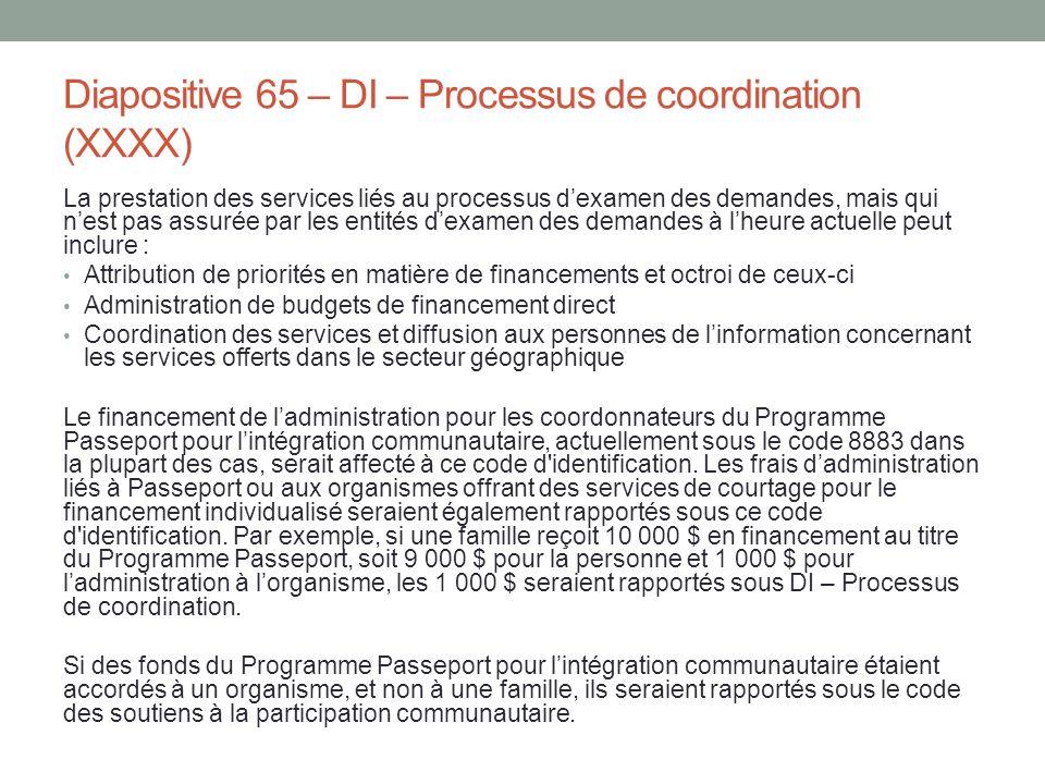 Diapositive 65 – DI – Processus de coordination (XXXX)