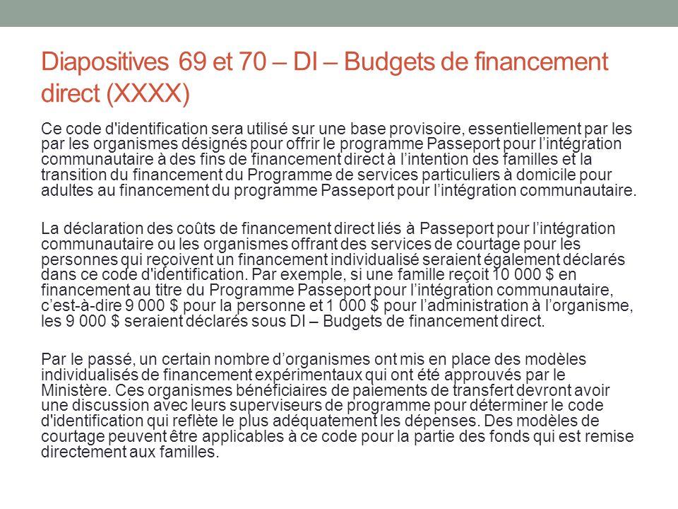 Diapositives 69 et 70 – DI – Budgets de financement direct (XXXX)
