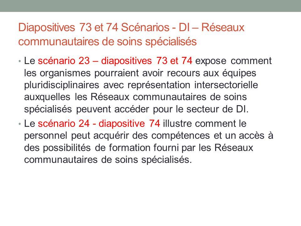 Diapositives 73 et 74 Scénarios - DI – Réseaux communautaires de soins spécialisés