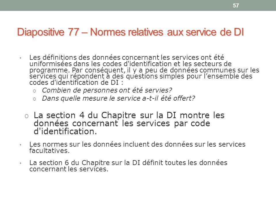 Diapositive 77 – Normes relatives aux service de DI
