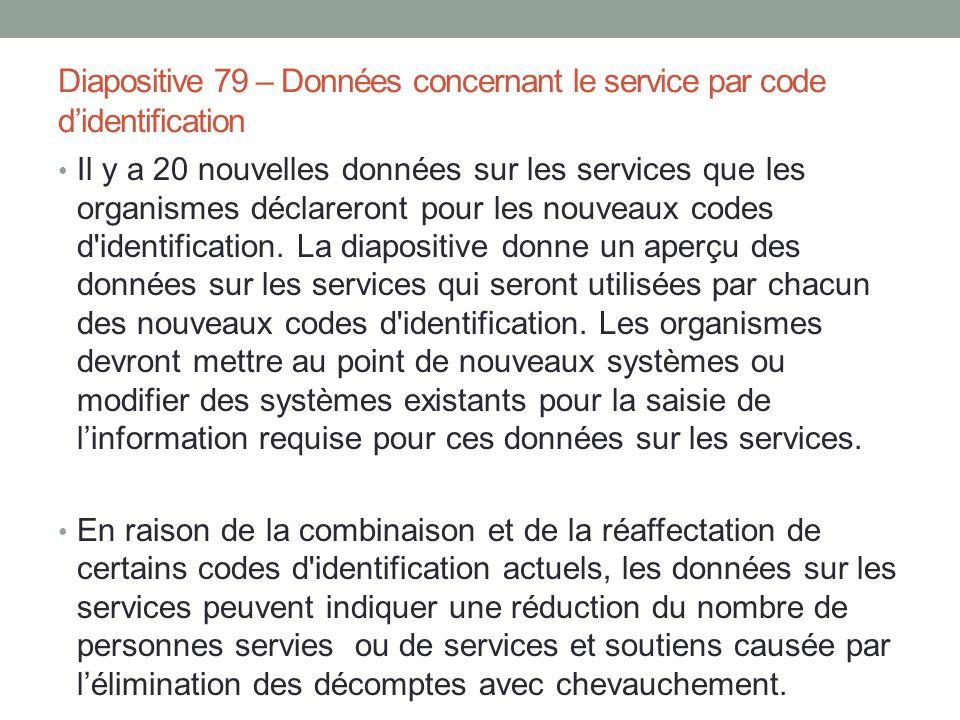 Diapositive 79 – Données concernant le service par code d'identification