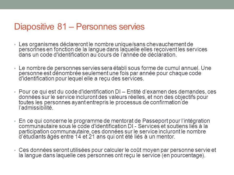 Diapositive 81 – Personnes servies