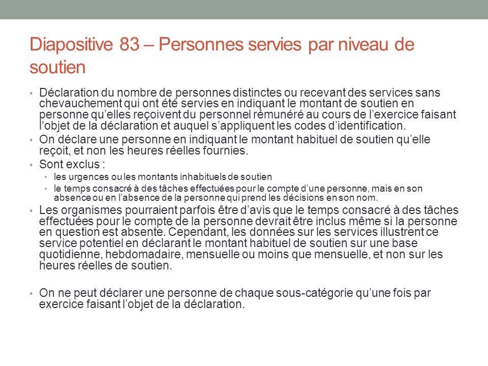 Diapositive 83 – Personnes servies par niveau de soutien