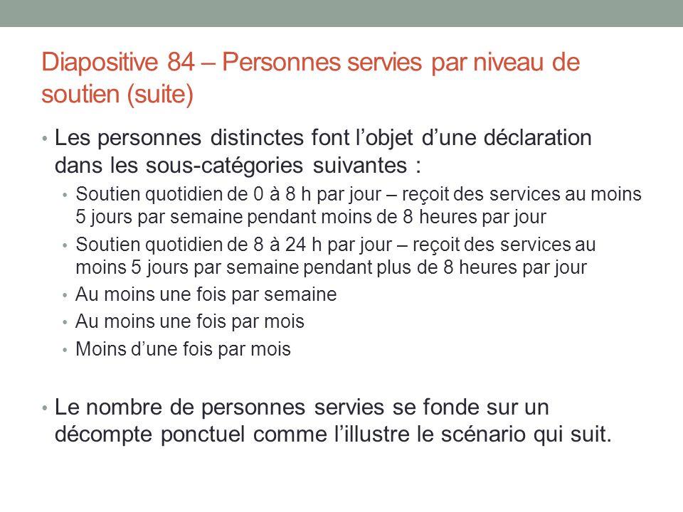 Diapositive 84 – Personnes servies par niveau de soutien (suite)