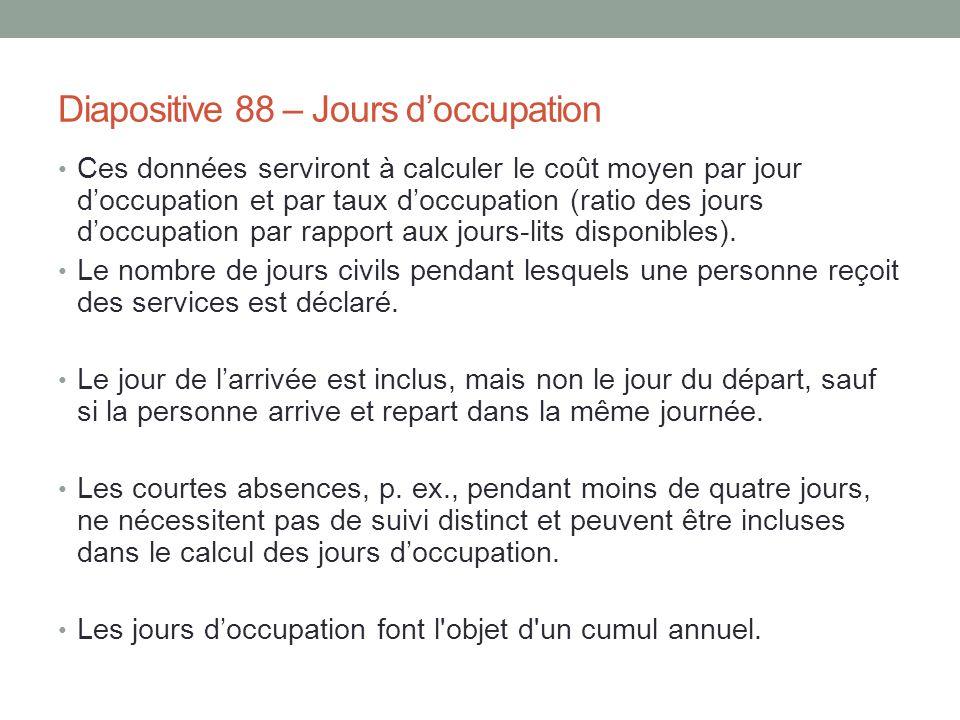 Diapositive 88 – Jours d'occupation