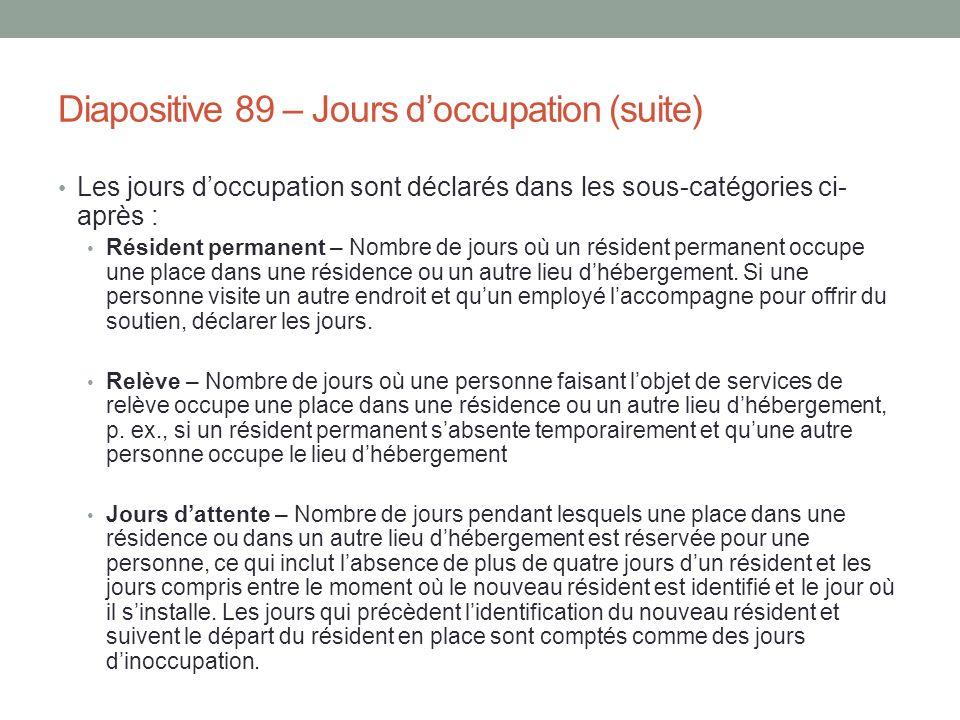 Diapositive 89 – Jours d'occupation (suite)
