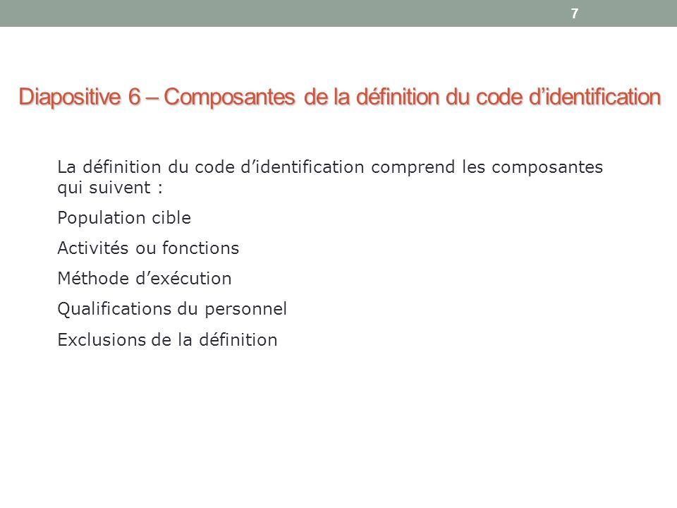 Diapositive 6 – Composantes de la définition du code d'identification