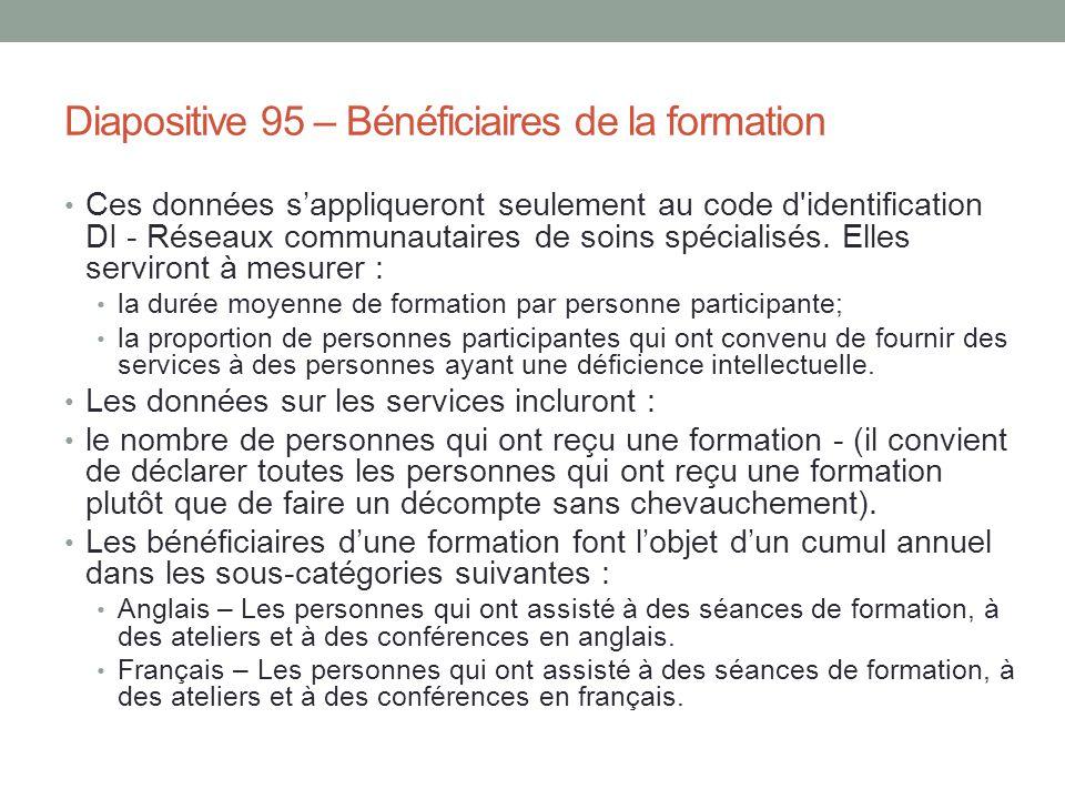 Diapositive 95 – Bénéficiaires de la formation