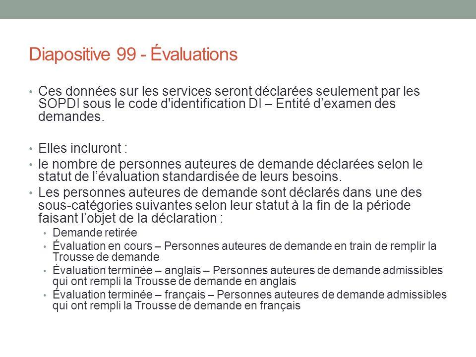 Diapositive 99 - Évaluations