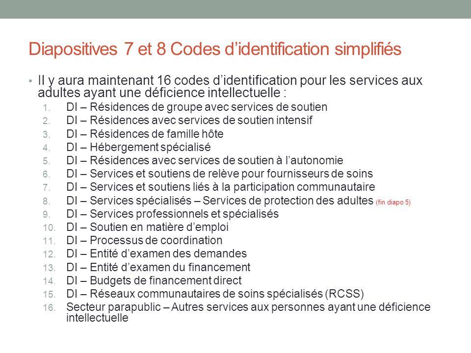 Diapositives 7 et 8 Codes d'identification simplifiés