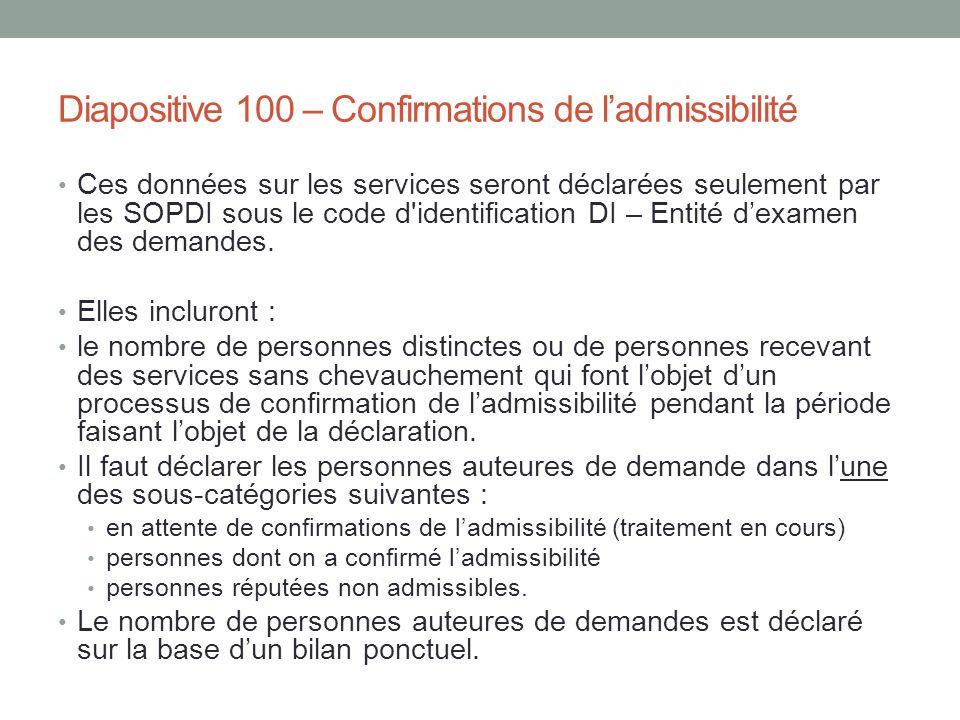 Diapositive 100 – Confirmations de l'admissibilité