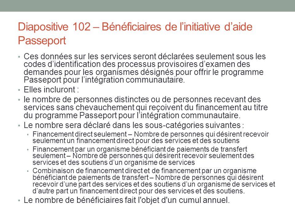 Diapositive 102 – Bénéficiaires de l'initiative d'aide Passeport