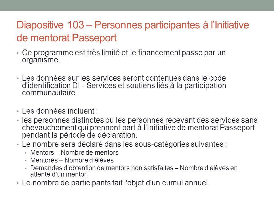 Diapositive 103 – Personnes participantes à l'Initiative de mentorat Passeport