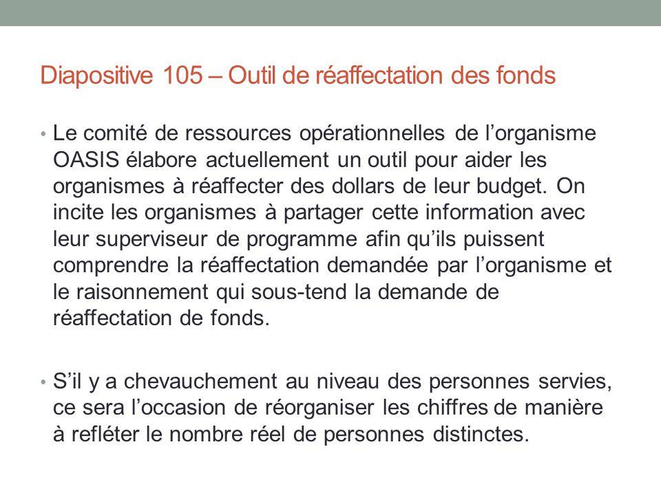 Diapositive 105 – Outil de réaffectation des fonds