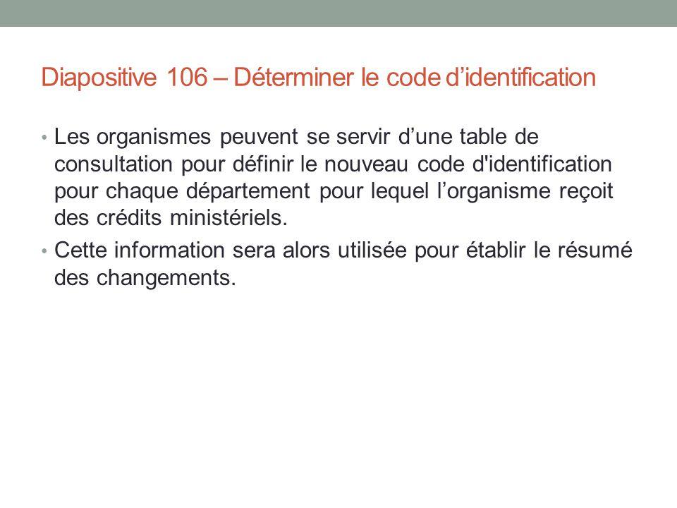 Diapositive 106 – Déterminer le code d'identification