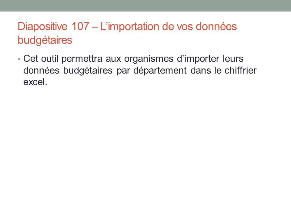 Diapositive 107 – L'importation de vos données budgétaires