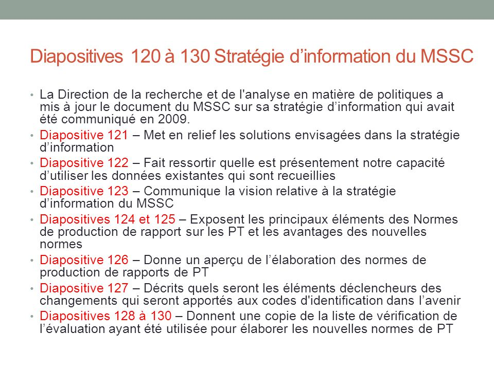 Diapositives 120 à 130 Stratégie d'information du MSSC