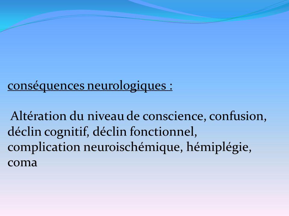 conséquences neurologiques :