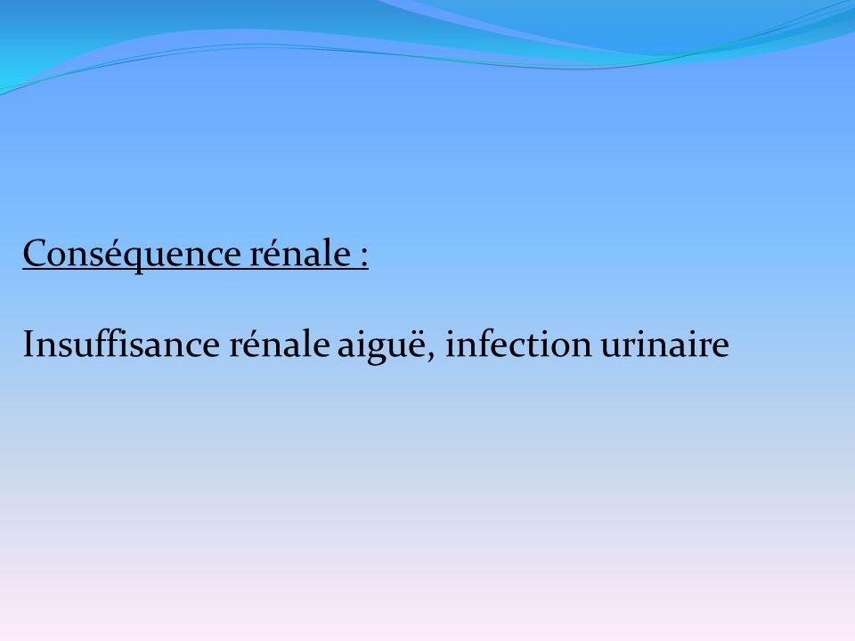 Conséquence rénale : Insuffisance rénale aiguë, infection urinaire