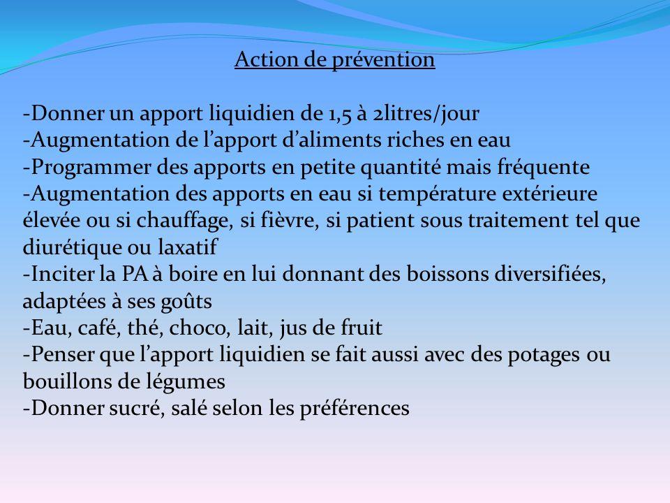 Action de prévention -Donner un apport liquidien de 1,5 à 2litres/jour. -Augmentation de l'apport d'aliments riches en eau.