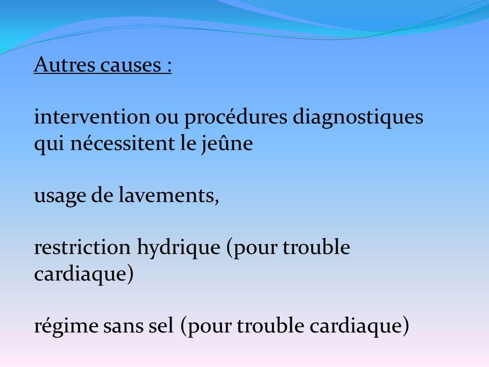 Autres causes : intervention ou procédures diagnostiques qui nécessitent le jeûne. usage de lavements,