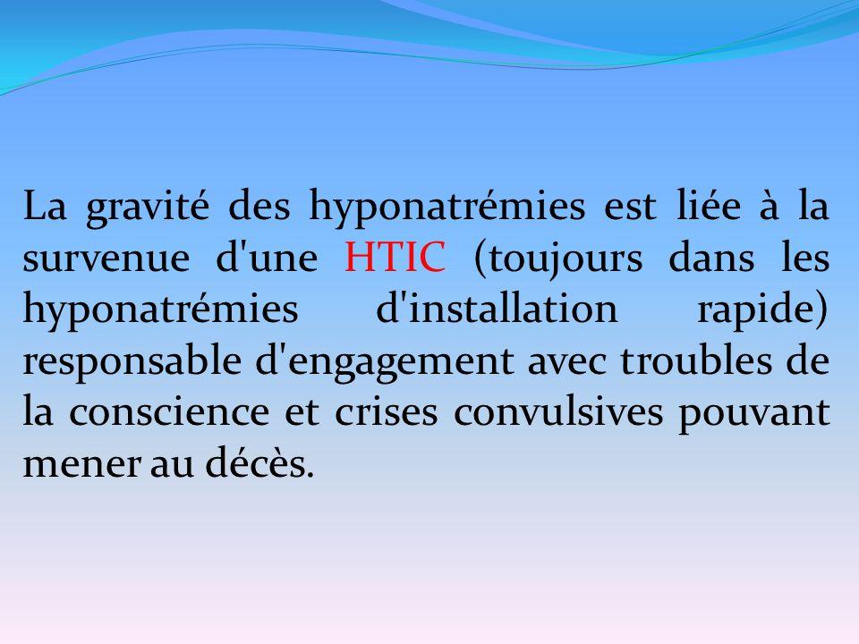 La gravité des hyponatrémies est liée à la survenue d une HTIC (toujours dans les hyponatrémies d installation rapide) responsable d engagement avec troubles de la conscience et crises convulsives pouvant mener au décès.