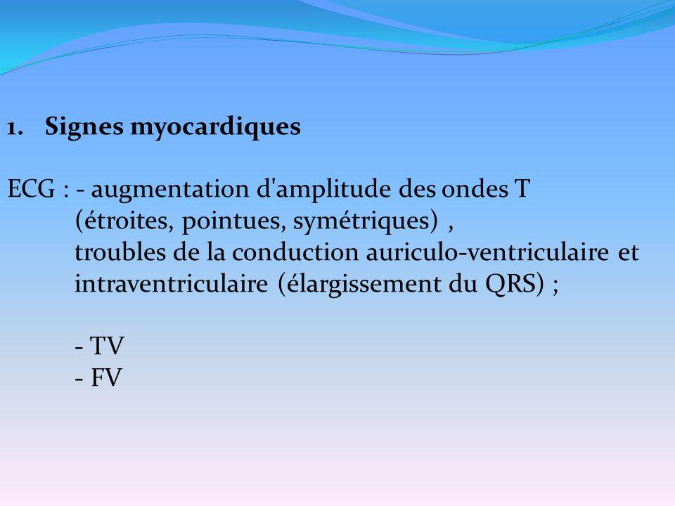 Signes myocardiques ECG : - augmentation d amplitude des ondes T. (étroites, pointues, symétriques) ,