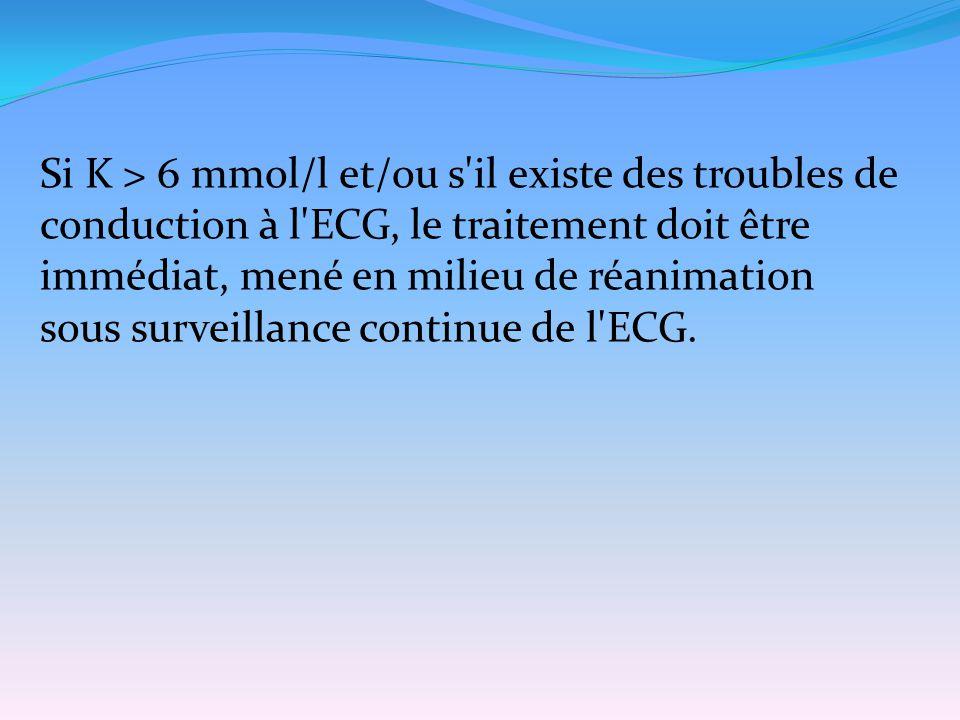 Si K > 6 mmol/l et/ou s il existe des troubles de conduction à l ECG, le traitement doit être immédiat, mené en milieu de réanimation sous surveillance continue de l ECG.