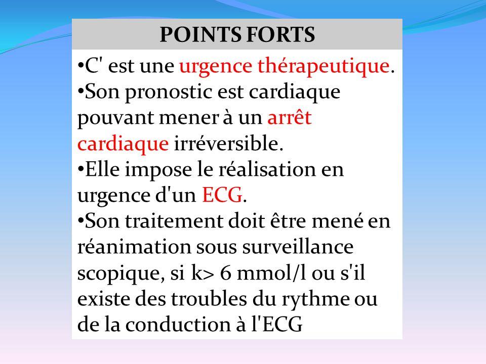POINTS FORTS C est une urgence thérapeutique. Son pronostic est cardiaque pouvant mener à un arrêt cardiaque irréversible.