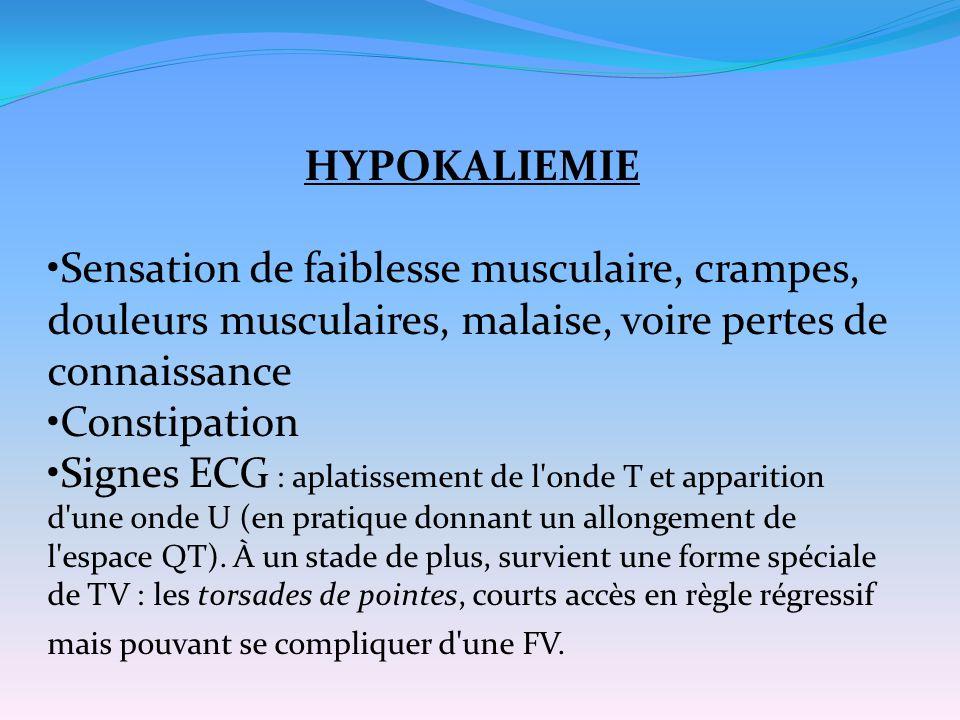 HYPOKALIEMIE Sensation de faiblesse musculaire, crampes, douleurs musculaires, malaise, voire pertes de connaissance.