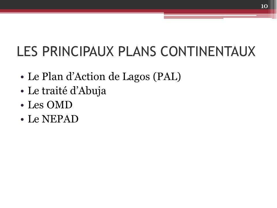 LES PRINCIPAUX PLANS CONTINENTAUX