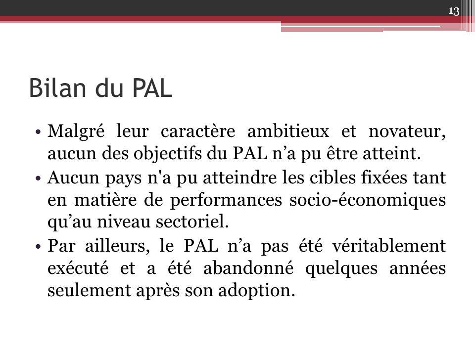 Bilan du PAL Malgré leur caractère ambitieux et novateur, aucun des objectifs du PAL n'a pu être atteint.
