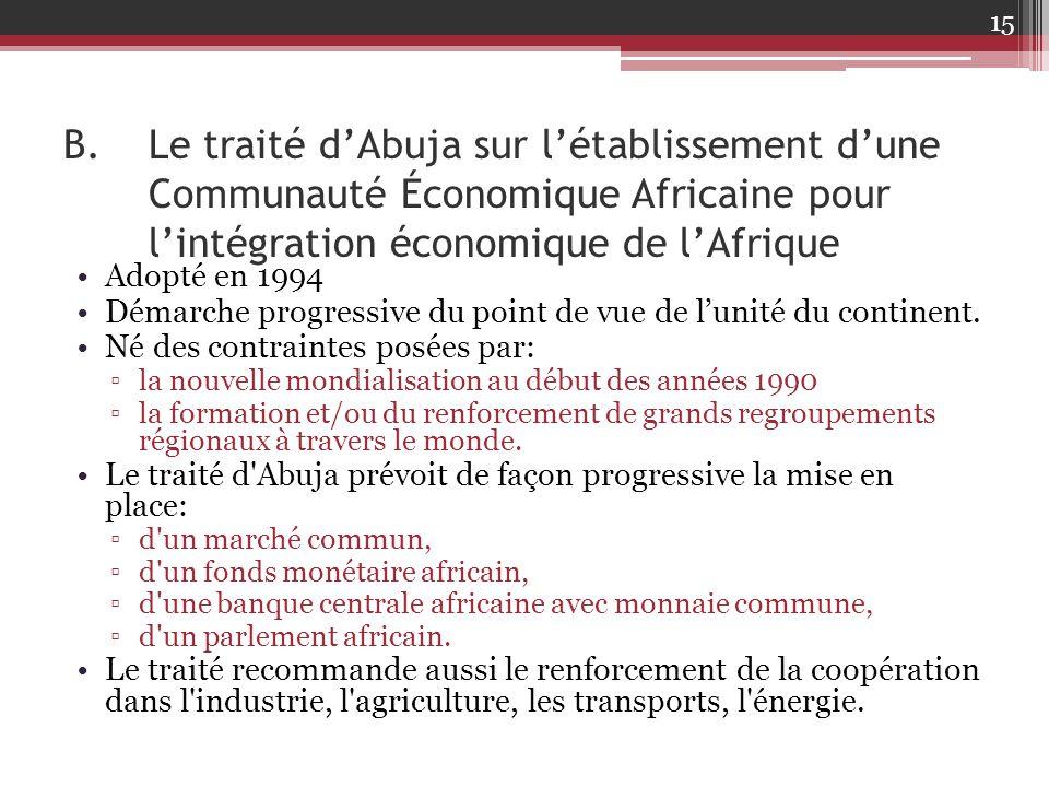 Le traité d'Abuja sur l'établissement d'une Communauté Économique Africaine pour l'intégration économique de l'Afrique