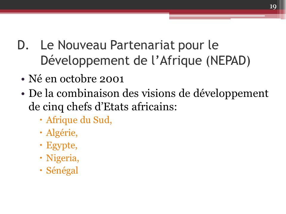Le Nouveau Partenariat pour le Développement de l'Afrique (NEPAD)
