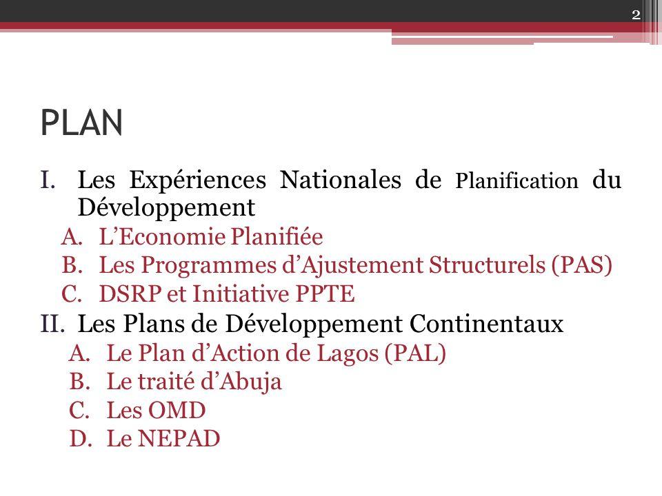 PLAN Les Expériences Nationales de Planification du Développement