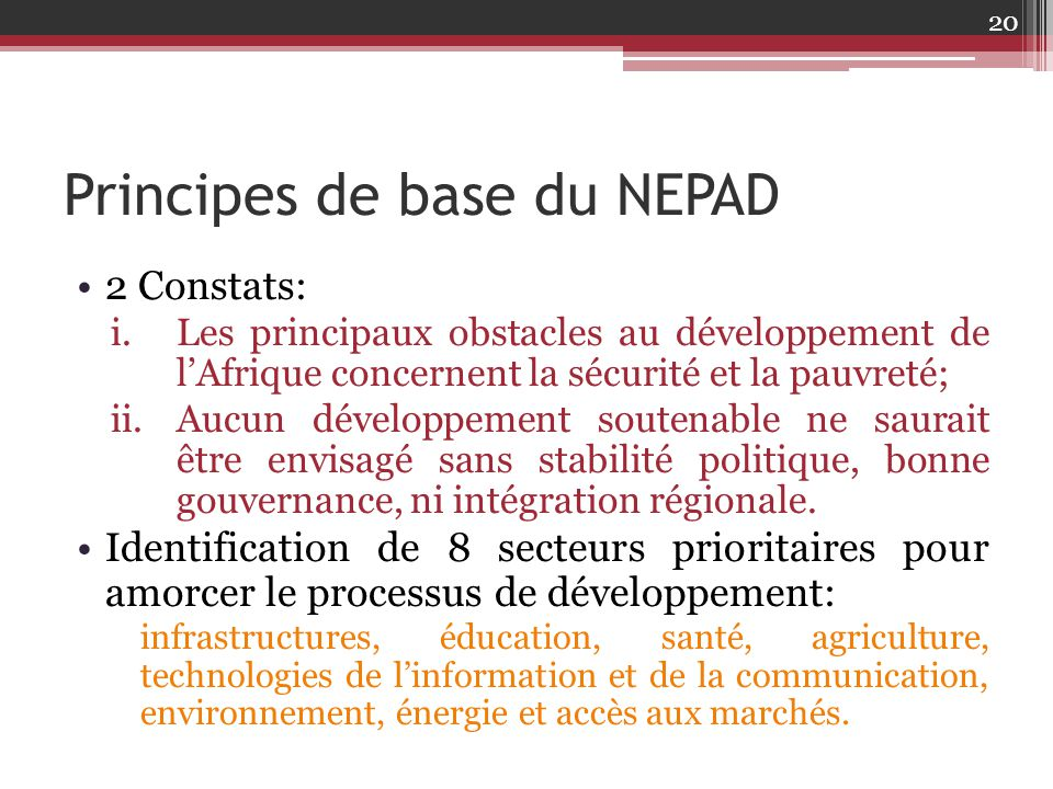 Principes de base du NEPAD