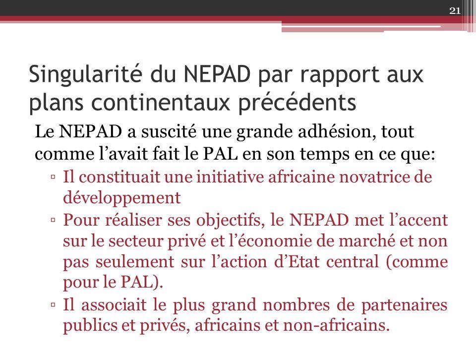 Singularité du NEPAD par rapport aux plans continentaux précédents
