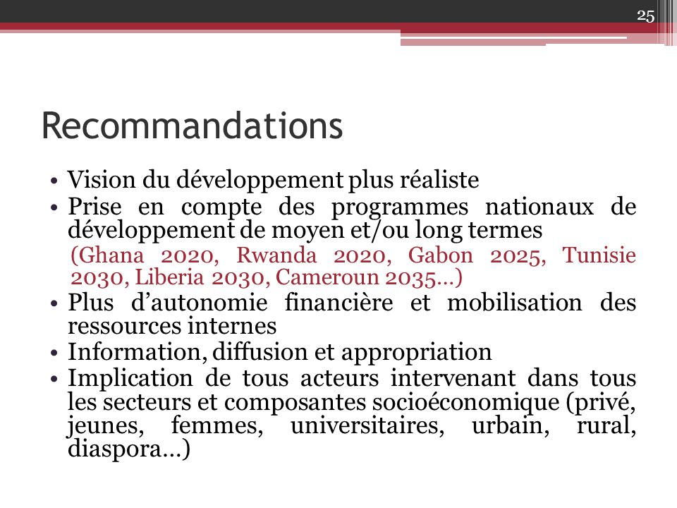 Recommandations Vision du développement plus réaliste