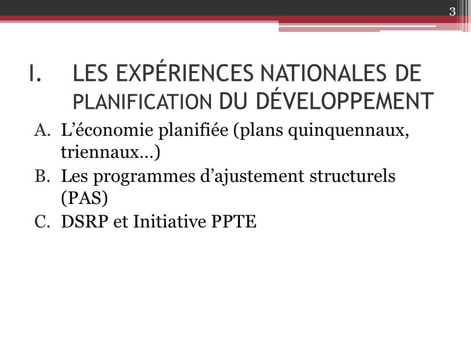LES EXPÉRIENCES NATIONALES DE PLANIFICATION DU DÉVELOPPEMENT