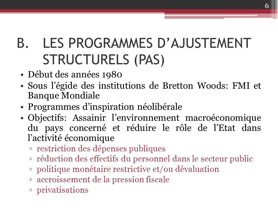 LES PROGRAMMES D'AJUSTEMENT STRUCTURELS (PAS)
