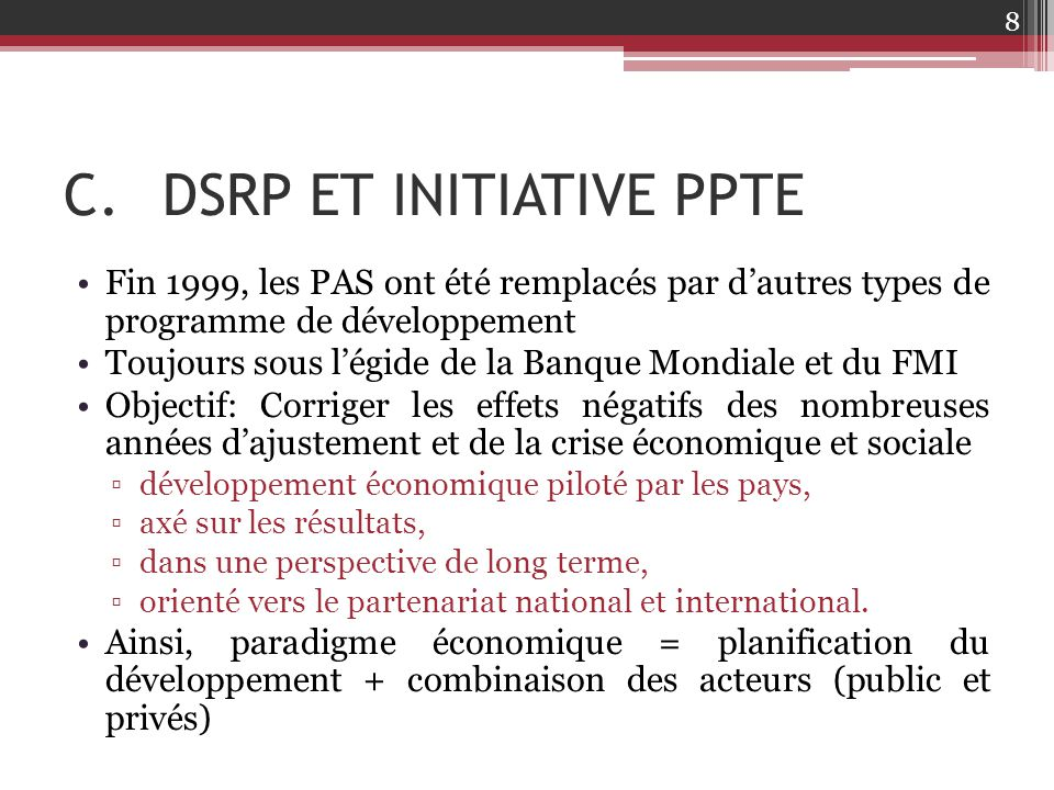 DSRP ET INITIATIVE PPTE