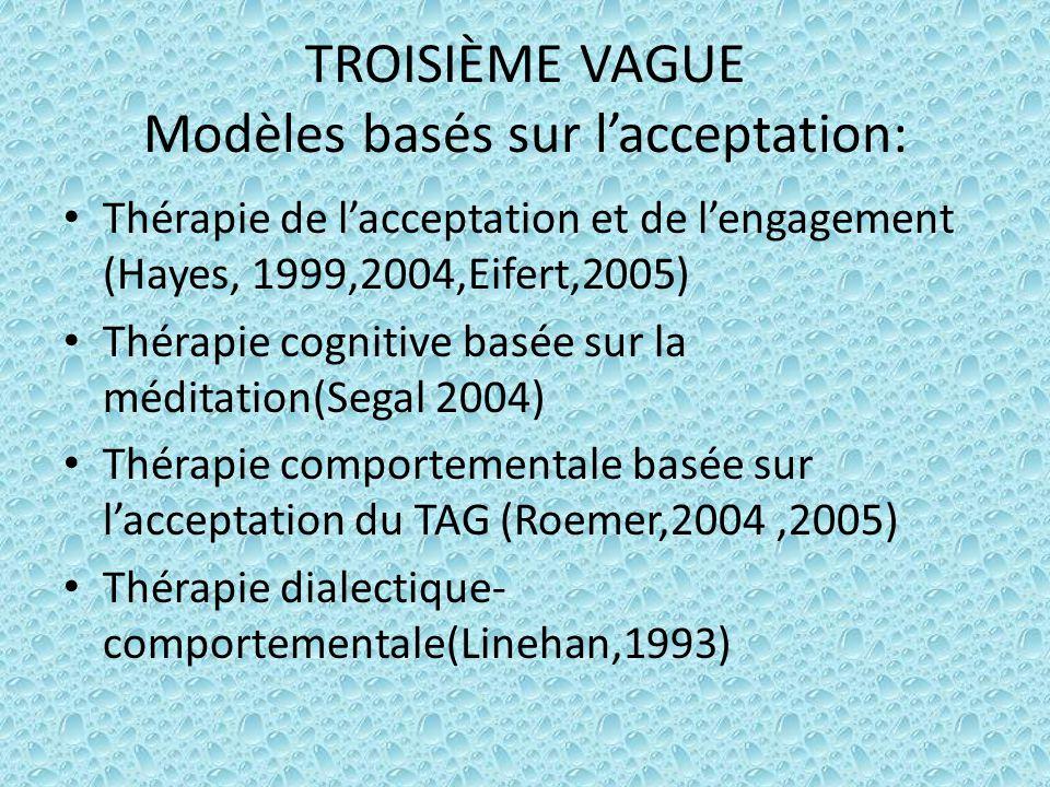 TROISIÈME VAGUE Modèles basés sur l'acceptation: