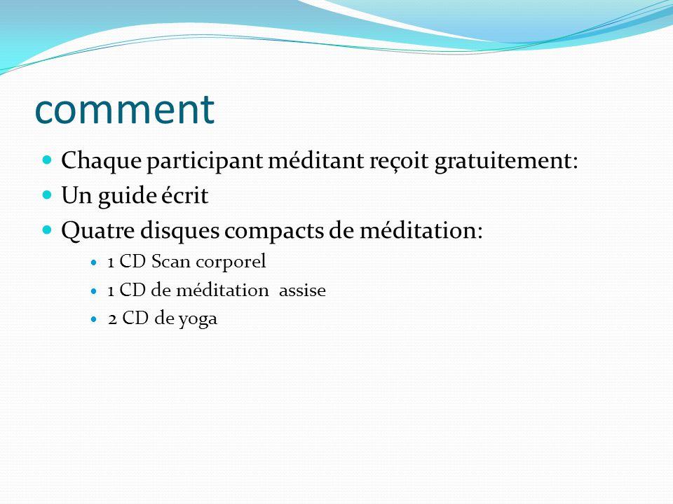 comment Chaque participant méditant reçoit gratuitement: