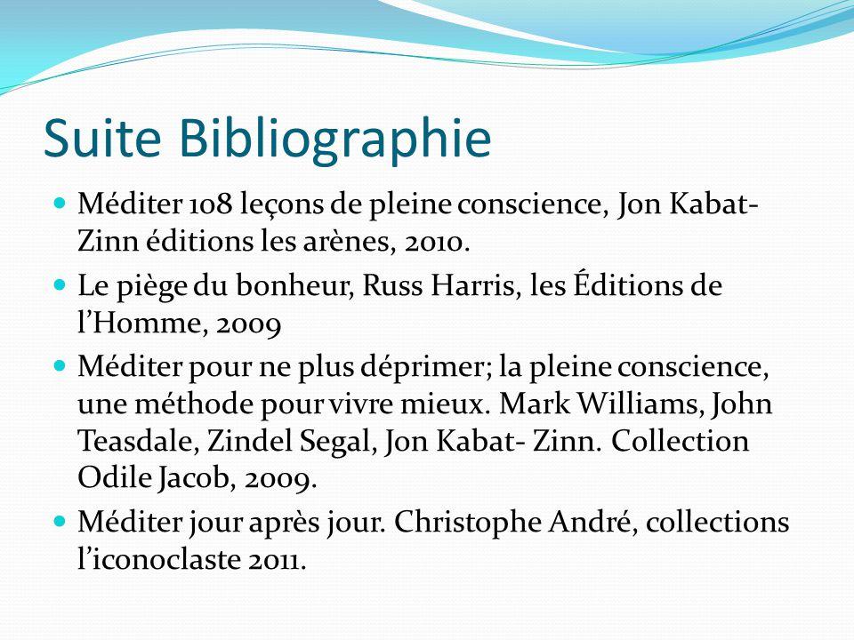 Suite Bibliographie Méditer 108 leçons de pleine conscience, Jon Kabat-Zinn éditions les arènes, 2010.