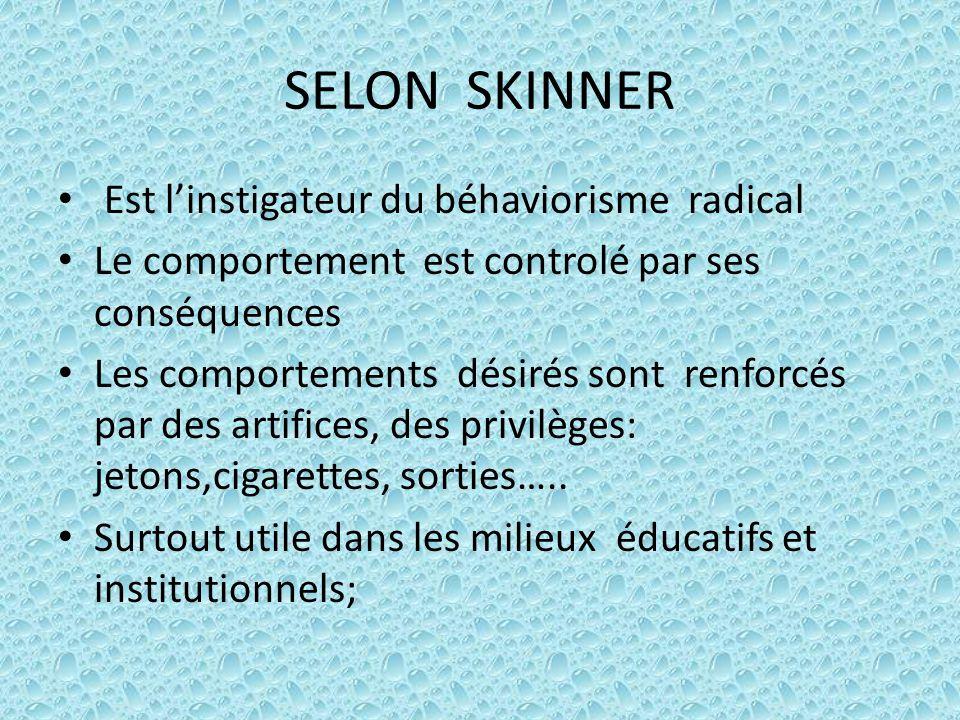 SELON SKINNER Est l'instigateur du béhaviorisme radical