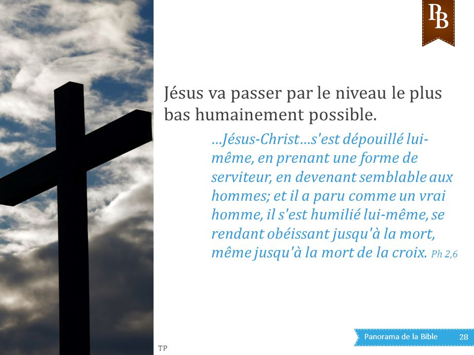 Jésus va passer par le niveau le plus bas humainement possible.