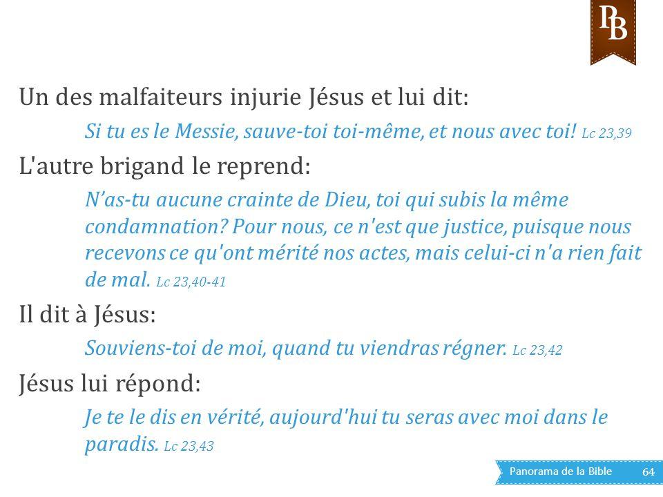 Un des malfaiteurs injurie Jésus et lui dit: