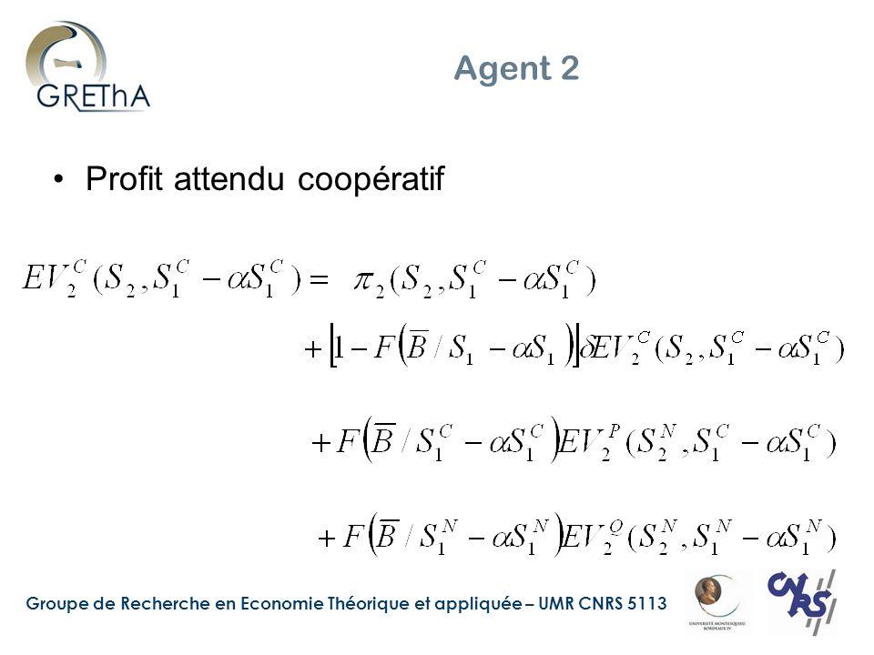 Agent 2 Profit attendu coopératif